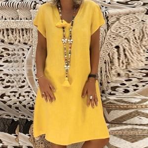 V Neck Solid Color Plain Mini Dress - Yellow