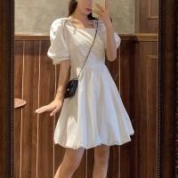 A-Line Solid Color Square Neck Mini Dress - White