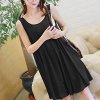 Round Neck Sleeveless Solid Color Mini Dress - Black