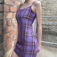 Check Printed Spaghetti Strap Body Fitted Mini Dress - Purple