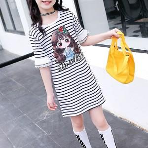 Round Neck Ruffled Hem Stripes Print Kids Girls Mini Dress - Black and White