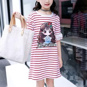 Round Neck Ruffled Hem Stripes Print Kids Girls Mini Dress - Red