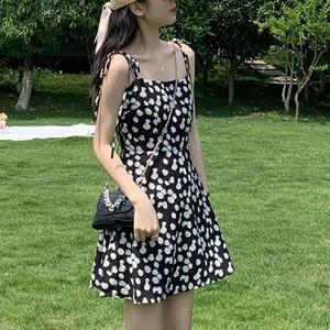 Strap Shoulder Floral Printed A-Line MIni Dress - Black