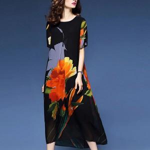 Floral Printed Full Length Short Sleeves Full Dress - Black