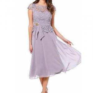 Lace Textured A-Line Midi Dress - Purple