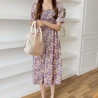 Ruffled Short Sleeves Flare Printed Midi Dress - Purple