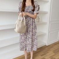 Ruffled Short Sleeves Flare Printed Midi Dress - Gray