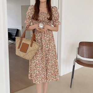 Ruffled Short Sleeves Flare Printed Midi Dress - Pink