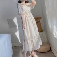 Plain Solid Color Ruffled Sleeves Midi Dress - Apricot
