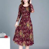 Printed Full Sleeves A-Line Midi Dress - Red