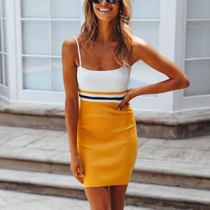 Spaghetti Strapped Body Fitted Mini Dress - Yellow