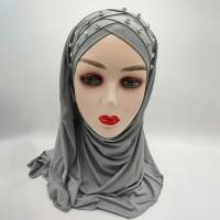 Crystal Braid Style Fashion Muslim Women Head Scarfs - Gray