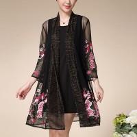 Glittery See Through Floral Thread Art Outwear Cardigan