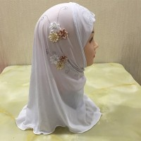 Floral Patched Thin Fabric Muslim Women Fashion Scarfs - White