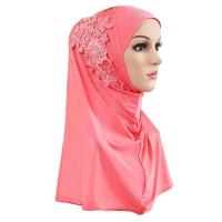 Crystal Decorative Bohemian Muslim Women Fashion Scarf - Pink
