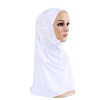 Crystal Decorative Bohemian Muslim Women Fashion Scarf - White