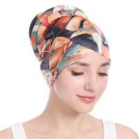 Floral Printed Braid Turban Style Muslim Head Scarf - Coral Orange