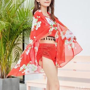 Tassel Strap Neck Floral Printed Swimwear Suit - Red