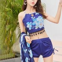 Tassel Strap Neck Floral Printed Swimwear Suit - Blue