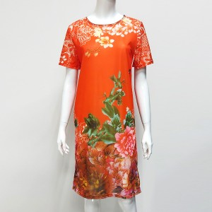 Floral Printed Chiffon Round Neck Full Sleeves Midi Dress - Red