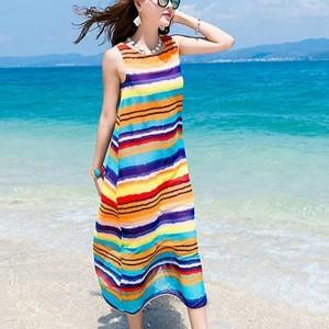 Colorful Stripes Printed Round Neck Sleeveless Maxi Beach Dress