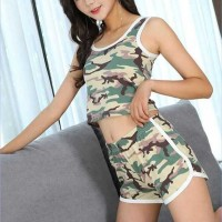 Camouflage Printed Sleeveless Sports Wear Suit - Light Green