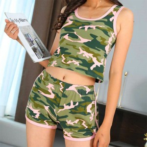 Camouflage Printed Sleeveless Sports Wear Suit - Green