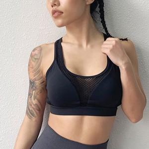 Thin Fabric Stretchable Sexy Sports Wear Bra Top - Black