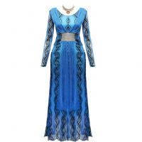 Printed Party Wear Sequins Decorative Luxury Women Fashion Dress - Blue