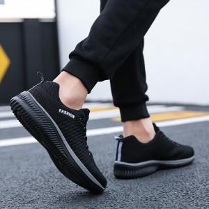 Rubber Sole Lace Closure Flat Wear Sports Unisex Sneakers - Gray
