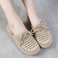 Bow Patched Hollow Flatware Mule Slippers - Khaki