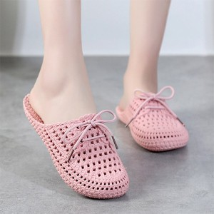 Bow Patched Hollow Flatware Mule Slippers - Light Pink