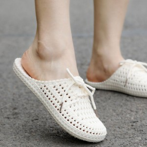 Bow Patched Hollow Flatware Mule Slippers - White