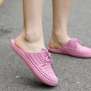 Bow Patched Hollow Flat Wear Mule Slippers - Pink
