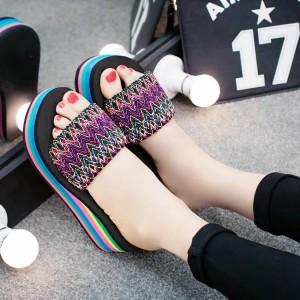 Bohemian Thread Art Rainbow Striped Sole Thick Bottom Heel Sandals - Purple