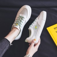Thread Floral Patch Lace Closure Flat Wear Sneakers - White Green