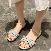 Pearl Decorative Flat Wear Slippers - Beige