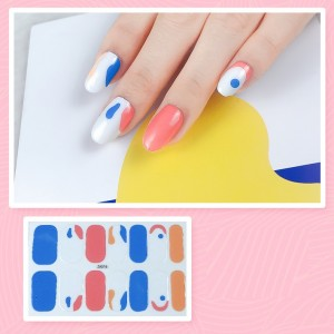Set Of 14 Pieces Full Cover 3D Nails Stickers 516 - Orange