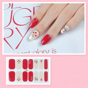 Set Of 14 Pieces Full Cover 3D Nails Stickers 517 - Red