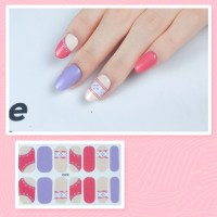 Set Of 14 Pieces Full Cover 3D Nails Stickers 518 - Light Purple