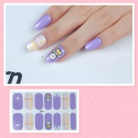 Set Of 14 Pieces Full Cover 3D Nails Stickers 519 - Purple
