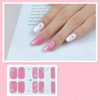Set Of 14 Pieces Full Cover 3D Nails Stickers 520 - Pink White