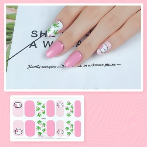 Set Of 14 Pieces Full Cover 3D Nails Stickers 521 - Light Pink