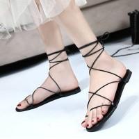 Cross String Lace Closure Flat Wear Sandals - Black
