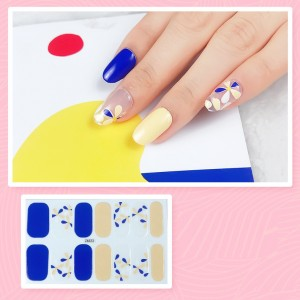 Set Of 14 Pieces Full Cover 3D Nails Stickers 523 - Blue Yellow