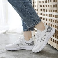 Mesh Breathable Gym Excercise Sports Wear Sneakers - Black and White