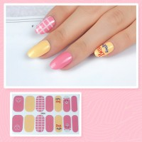 Set Of 14 Pieces Full Cover 3D Nails Stickers 526 - Light Yellow