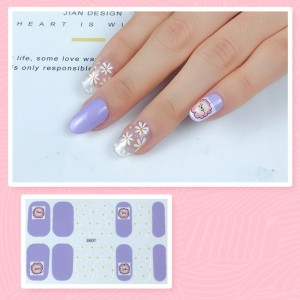 Set Of 14 Pieces Full Cover 3D Nails Stickers 527 - Grape Purple