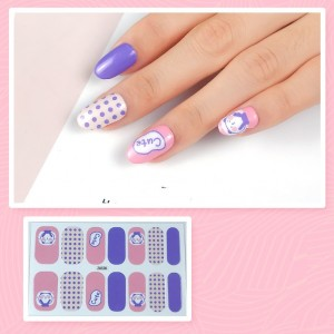 Set Of 14 Pieces Full Cover 3D Nails Stickers 528 - Decent Blue