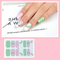Set Of 14 Pieces Full Cover 3D Nails Stickers 529 - Light Green